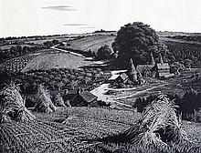 Charles William Taylor (1878-1960) 'A Sussex Farm' and landscape with bridge, 6.75 x 8.5in. and 6 x 8in.