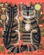 Sheila Flinn (b.1929) Two tabby cats in a garden 10 x 8in.