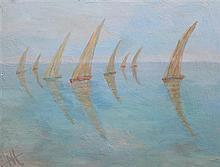 Nina Hosali (1898-1987) 'Fishing boats, Sfex, Tunisia', 18 x 24in., unframed.