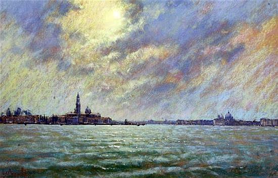 Lionel Aggett (1938-) San Giorgio Maggiore & The Guidecca, 13 x 20in.