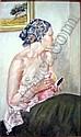 Franco Matania (1922-) oil on board, Lady at a dressing table, 16 x 9.5 ins., Franco Matania, Click for value