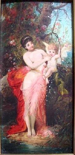 Jules Vernier (1862-?) French oil on wooden panel, Venus and Cupid, signed, 12.5 x 6 ins.