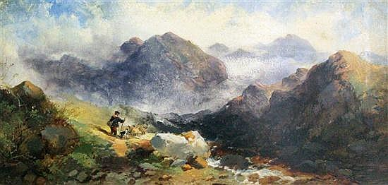 Joseph Horlor (1809-1887) Shepherd in the Highlands, 6.5 x 13in.