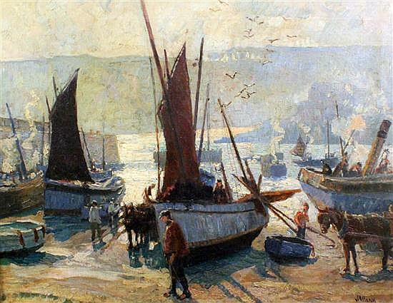 John Anthony Park (1880-1962) Fishing boats in harbour at low tide, 28 x 36in.
