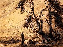 Attributed to Thomas Sunderland (1744-1823) Figures in a landscape & timber cart on a hill, 6.25 x 8.25in & 13.25 x 12.75in. unframed.