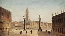 August Von Siegen (1820-1883) St Mark's Square and The Doge's Palace, Venice, 7.5 x 12.5in.