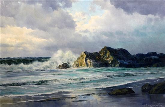 Edgar Freyberg (b.1927) Waves breaking on the shore, 24 x 36in.