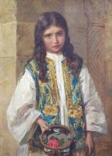 John Bagnold Burgess (1830-1896), Tambourine Girl, Oil on canvas, 40 x 29cm.