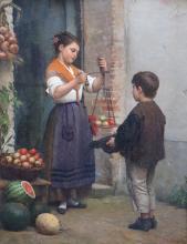 John Bagnold Burgess (1830-1897), The Fruit Seller, Oil on canvas, 40 x 30cm.