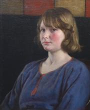 Harold Knight (1874-1961), Portrait of a young woman in a blue dress, Oil on canvas, 60 x 50cm.