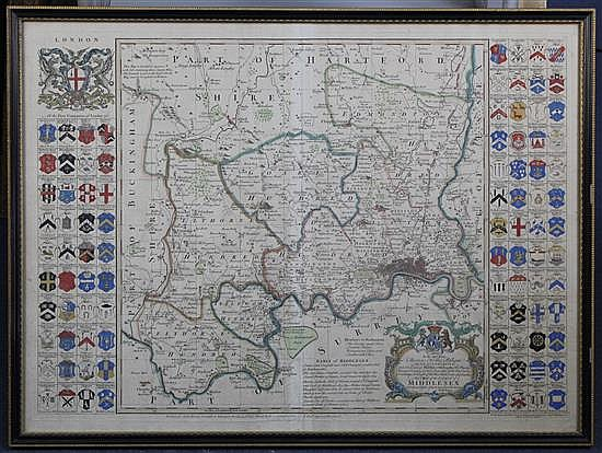 Richard Seale (fl.1732-1772) Map of Middlesex, printed for John Bowles, overall 21.5 x 29.5in.