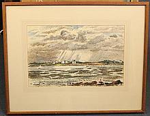 Charles Tcherniawsky (Russian, 1900-1976) Coastal landscape, 12.5 x 19.5in,
