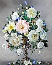 Desmond Kenny (fl.1934-40) Still life of summer flowers in an ornate vase, 24 x 20in.