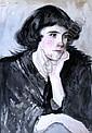 Thomas Binney Gibbs (1870-1947) Portrait of a young woman 14.25 x 10.5ins, Thomas Binney Gibbs, Click for value