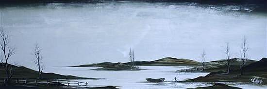 Ronald Norman Folland (1932-1999) 'Quiet Waters' & 'Edgewater Village' 18 x 48in.