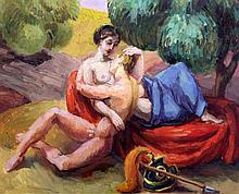 § Duncan Grant (1885-1978) 'Lovers, c.1955', 17.5 x 21.5in.
