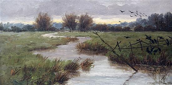 James Yates Carrington (1857-1892) 'Near Oxford' 6.5 x 13in.