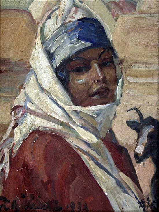 Georges C. Michelet (French, 1873-?) Arab girl with goats & Portrait of a lady inscribed 'Mama' 6.5 x 5in.