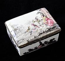 An 18th century South Staffordshire rectangular enamel snuff box, 3.5in., cracks to lid