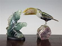 A quartz and agate carved model of a toucan & a horse head group
