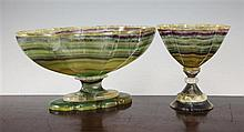 A banded fluorite pedestal bowl, 12in.