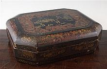 A Chinese export octagonal lacquer games box, 15in.