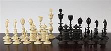 An Indian Vizagapatam carved ivory and horn chess set, c.1820.