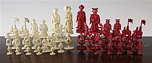 A Chinese carved ivory chess set, Kings- 5 3/8ths in.
