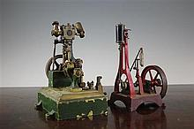 A live steam model of a vertical engine,