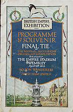 A 1923 FA Cup Football programme and souvenir for the final tie between Bolton Wanderers and West Ham United, 7.5in.