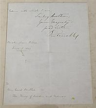 Queen Victoria (1899-1901). A hand written letter to the King of Sweden, overall 16 x 14in.