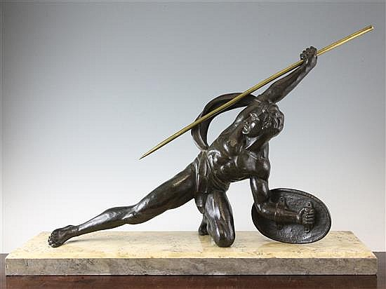 S. Melani. An Art Deco bronze figure of a classical warrior, 28.5in.