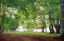 Carl Frederik Aagaard (1833-1895) Beech trees in summertime, 15.5 x 23.5in.
