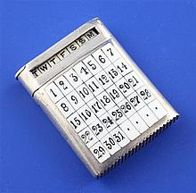 A Victorian novelty silver and enamel combination calendar/ vesta case, approx. 1.75in.