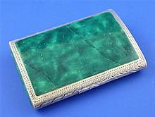 A 1920's continental engraved silver and malachite cigarette case, 3.25in.