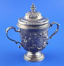 A George II small silver two handled pedestal cup and cover, 13.5 oz.