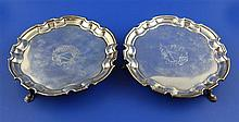 A pair of George II silver waiters by John Tuite, 14.5 oz.