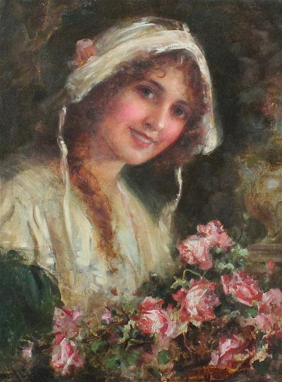 William Joseph Carroll (19th C.) Country lass with a basket of roses, 24 x 18in.