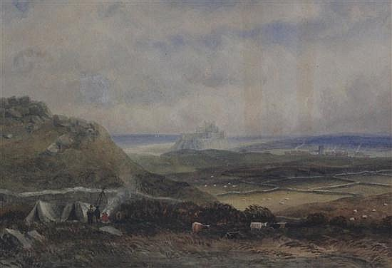 Henry Barlow Carter (1795-1867) Cattle drovers before Bamburgh Castle, 9 x 12.5in.