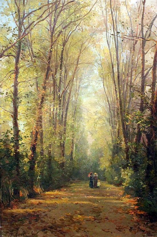 Alfredo Cristiano Keil (Portuguese, 1851-1907) Ladies and child on a tree-lined path, 21 x 14in.