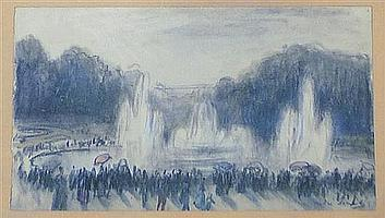 André Sinet (1867-1923) Figures in French parks, 3.5 x 6.5in.