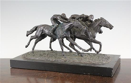 René Paris (1881-1970), A French bronze group of three race horses and jockeys, 8 x 15ins