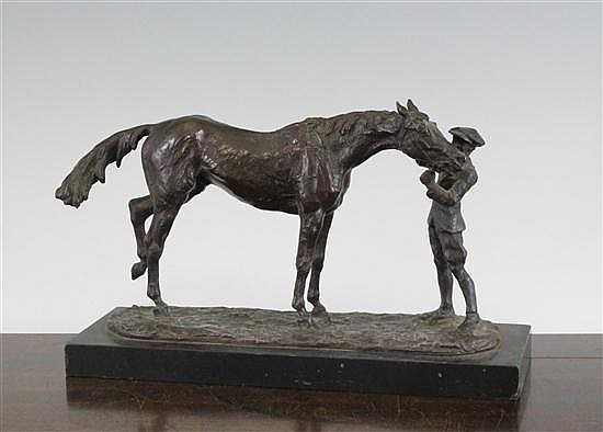René Paris (1881-1970), A French bronze group of a horse and groom 6.5 x 10.5ins