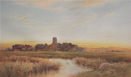 Thomas Noelsmith (1840-1900) Landscape at sunset with church and cattle, 15 x 25in.