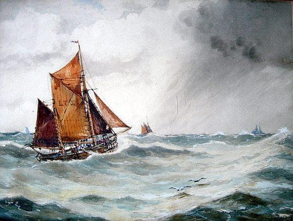 William Hyams (1878-1952) Littlehampton fishing biats at sea, 13.5 x 18 ins.