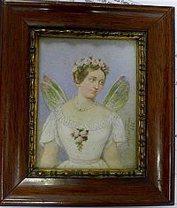 Albert Theer (Austrian, 1815-1902) - 'Dame als Psyche' , watercolour on ivory