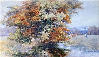 Mary Georgina Barton (Irish. 1861-1949) 'Autumn in an Irish Park', 16 x 28in.