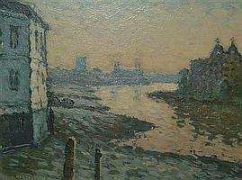 Ronald Morgan RBA ROI (b.1936) The Thames near Hammersmith bridge, 7.5 x 9.5in.