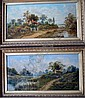 E.Cole Snr pair of oils Cottages in landscapes, 12 x 24 ins., E. Cole, Click for value
