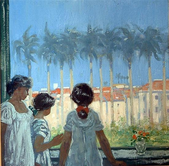 Archibald Stevenson Forrest (1869-1963) Figures in a window, palm trees beyond 9.75 x 9.75in.